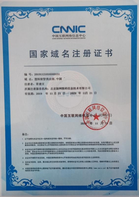 国家域名注册证书